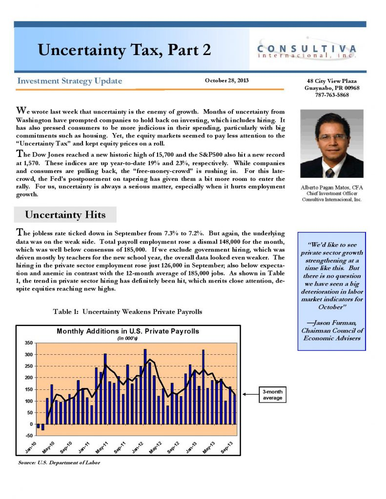 The Uncertainty Tax 2 Oct 28 2013