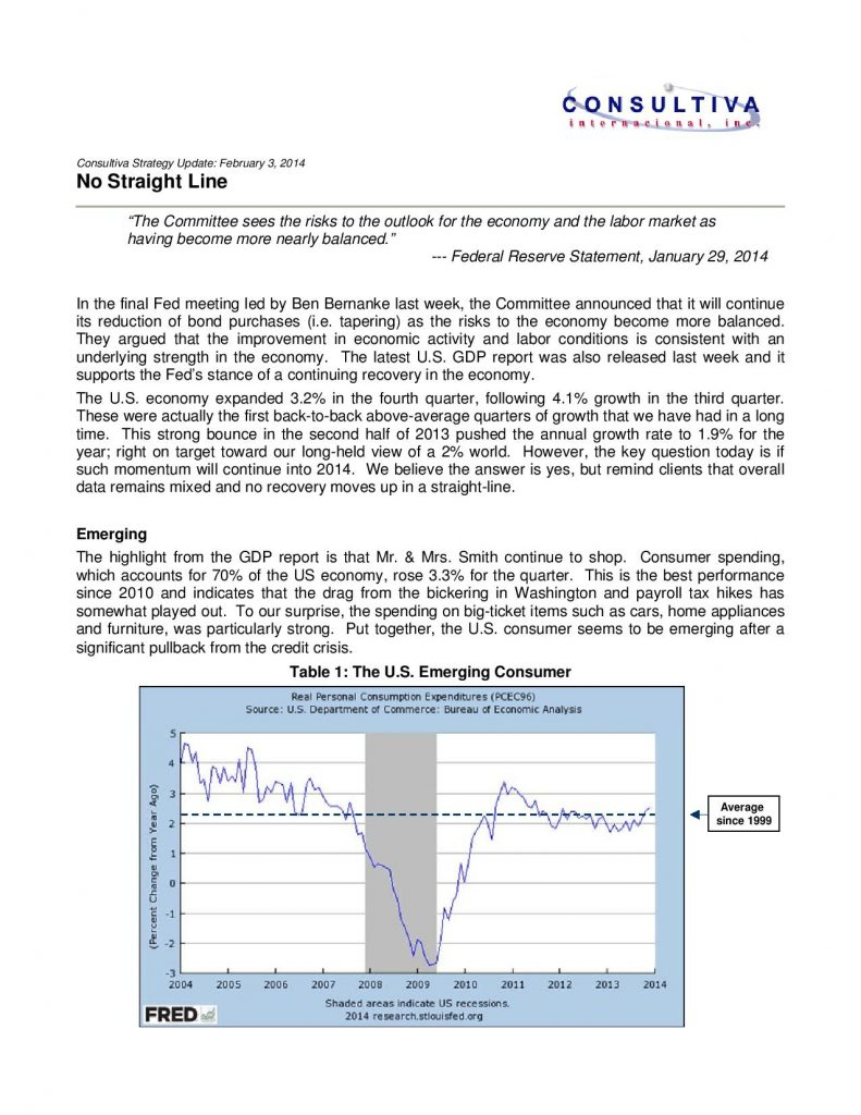Consultiva Strategy Update – No Straight Line – February 3 2014